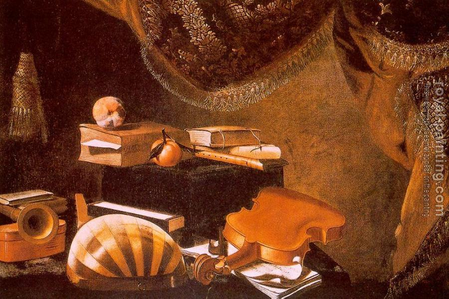 Evaristo Baschenis : Graphic Still-Life with Musical Instruments